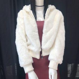 Faux-Fur Jacket With hoodie